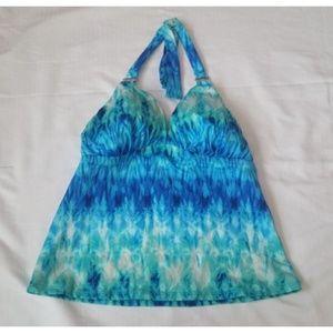 2Bamboo Blue Halter Tankini Swimsuit Top  L 36DD